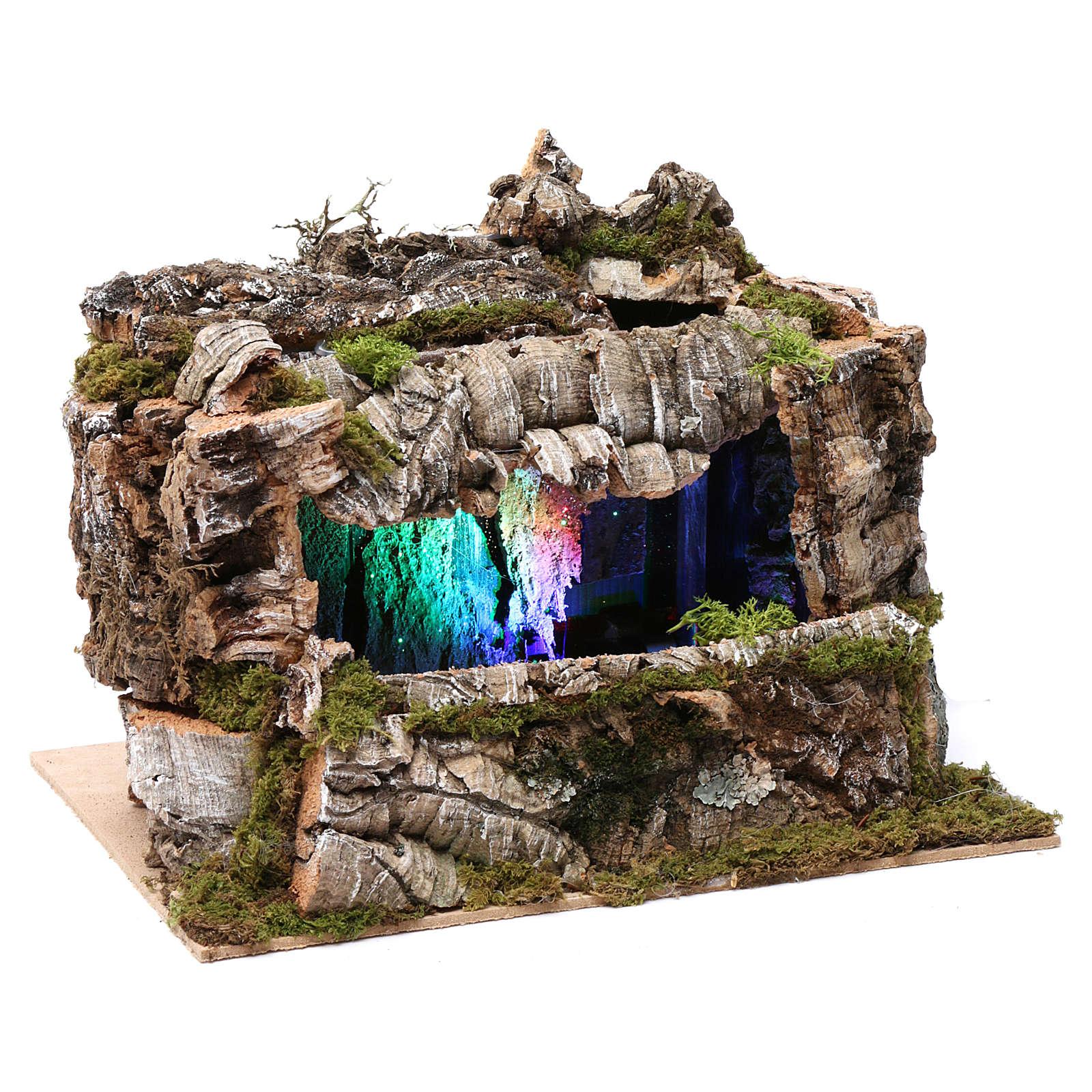 Grotta con torrente e gioco di luci 30X30X20 cm per figure 10-13 cm 4