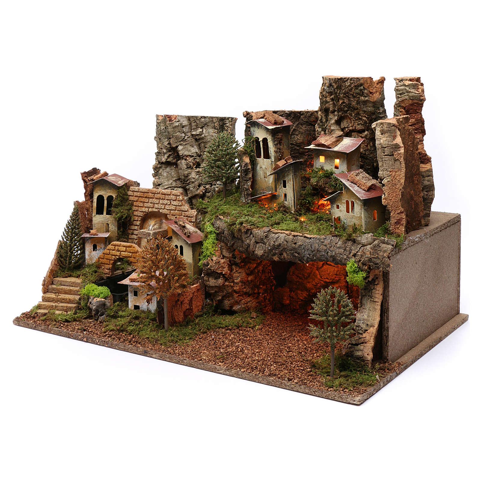 Paesaggio grotta fontana luci 40X60X40 cm per figure 7-8 cm 4