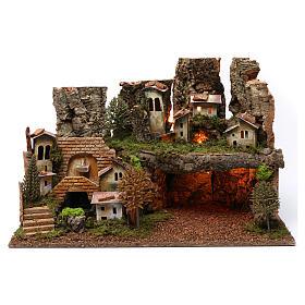 Paesaggio grotta fontana luci 40X60X40 cm per figure 7-8 cm s1
