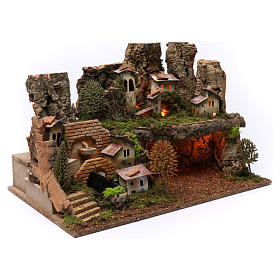 Paesaggio grotta fontana luci 40X60X40 cm per figure 7-8 cm s3