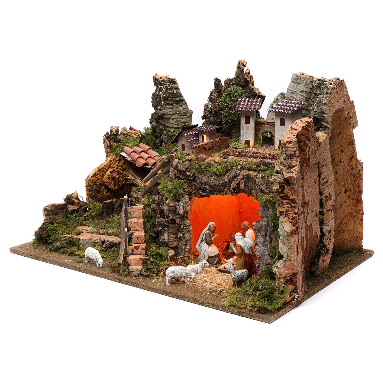Village with fountain, lights, houses, Holy Family and sheep 35x60x40 cm for Nativity Scene 8 cm 4
