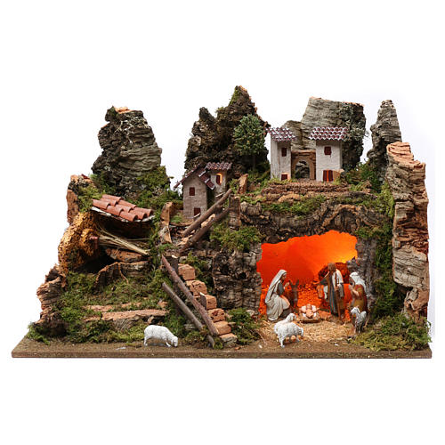 Village with fountain, lights, houses, Holy Family and sheep 35x60x40 cm for Nativity Scene 8 cm 1