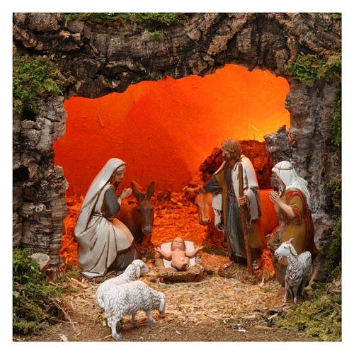 Village with fountain, lights, houses, Holy Family and sheep 35x60x40 cm for Nativity Scene 8 cm 2