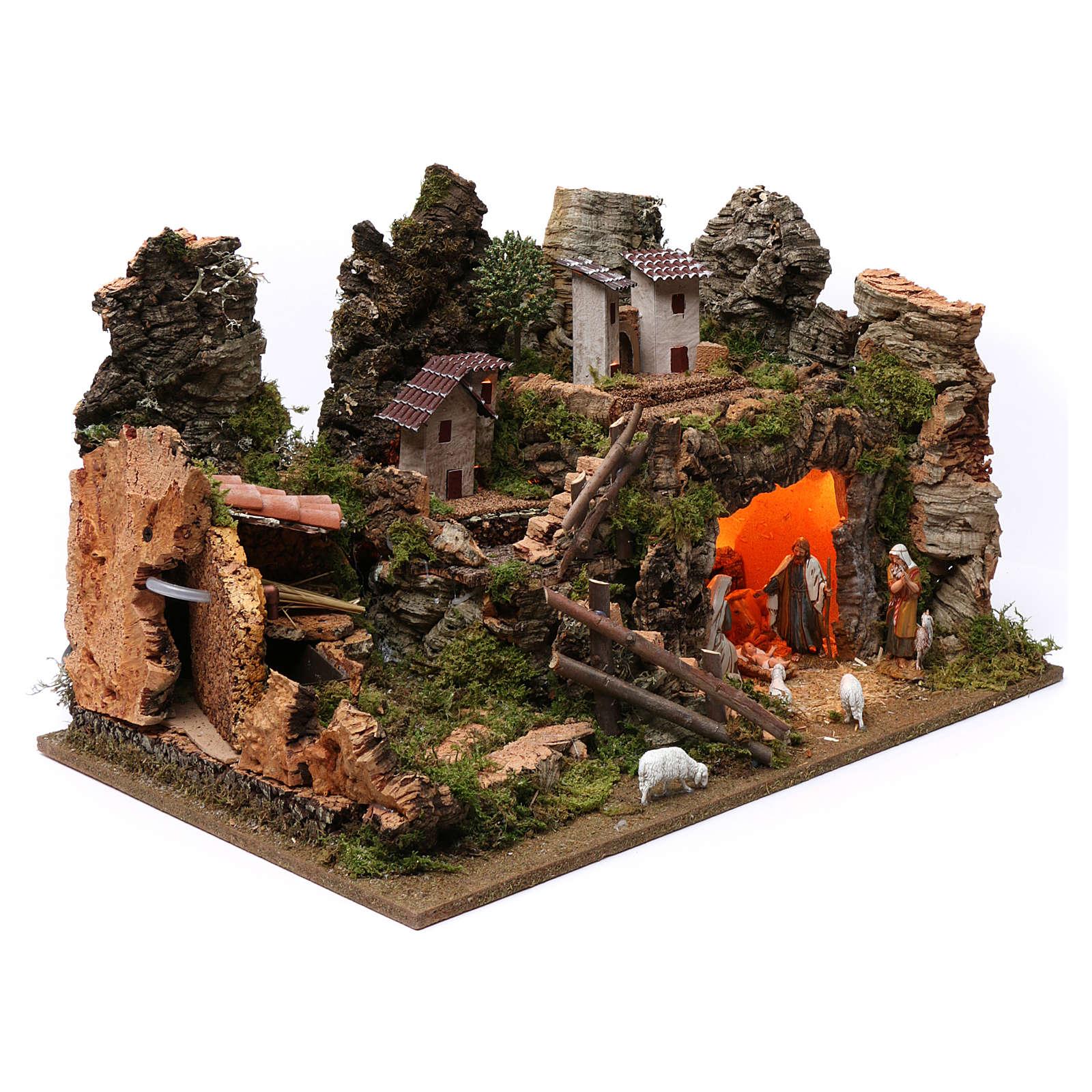Pueblo para Belén de Navidad con fuente, luces, casas y figuras 8 cm altura media, 35x60x40 cm 4