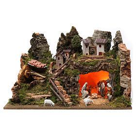 Village fontaine lumières maisons nativité et moutons 35x60x40 cm pour santons 8 cm s1