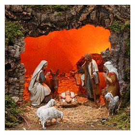 Village fontaine lumières maisons nativité et moutons 35x60x40 cm pour santons 8 cm s2