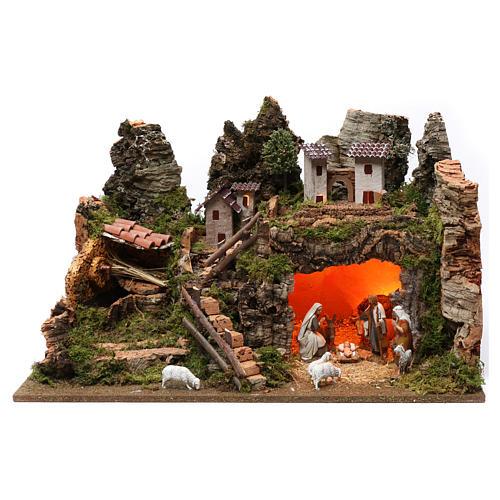 Village fontaine lumières maisons nativité et moutons 35x60x40 cm pour santons 8 cm 1
