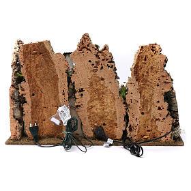 Villaggio fontana luci casette natività e pecore 35X60X40 cm per figure 8 cm s5