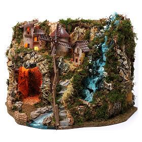 Villaggio cascata fuoco mulino luci 40X55X30 cm per presepi 9-10 cm s2