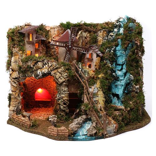 Villaggio cascata fuoco mulino luci 40X55X30 cm per presepi 9-10 cm 1