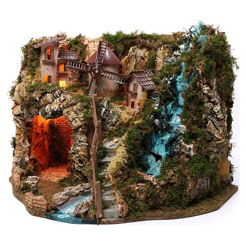Villaggio cascata fuoco mulino luci 40X55X30 cm per presepi 9-10 cm 2