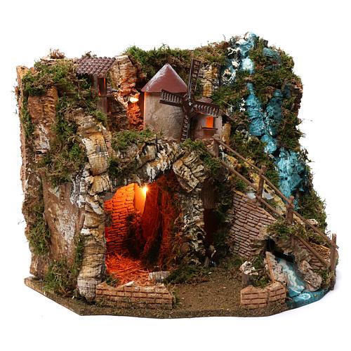 Villaggio cascata fuoco mulino luci 40X55X30 cm per presepi 9-10 cm 3