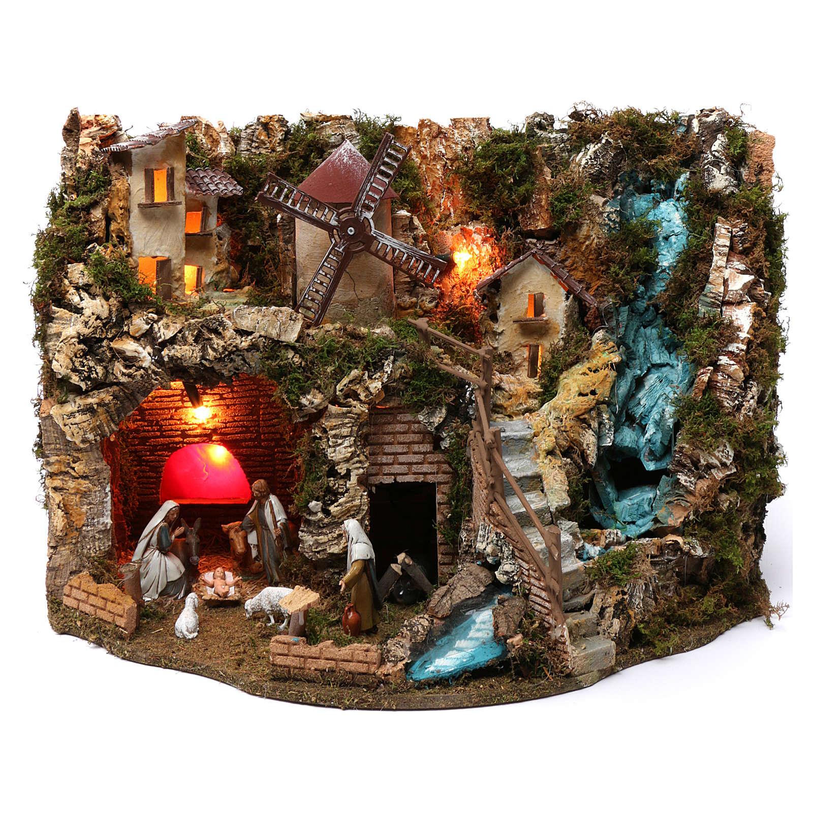 Villaggio cascata fuoco mulino luci natività e personaggi 40X60X40 cm figure 9-10 cm 4