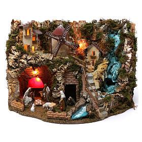 Villaggio cascata fuoco mulino luci natività e personaggi 40X60X40 cm figure 9-10 cm s1