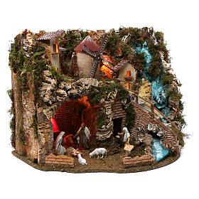 Villaggio cascata fuoco mulino luci natività e personaggi 40X60X40 cm figure 9-10 cm s4