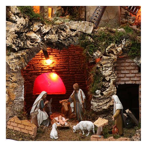 Villaggio cascata fuoco mulino luci natività e personaggi 40X60X40 cm figure 9-10 cm 2