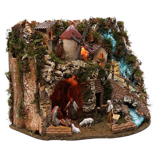 Villaggio cascata fuoco mulino luci natività e personaggi 40X60X40 cm figure 9-10 cm 3