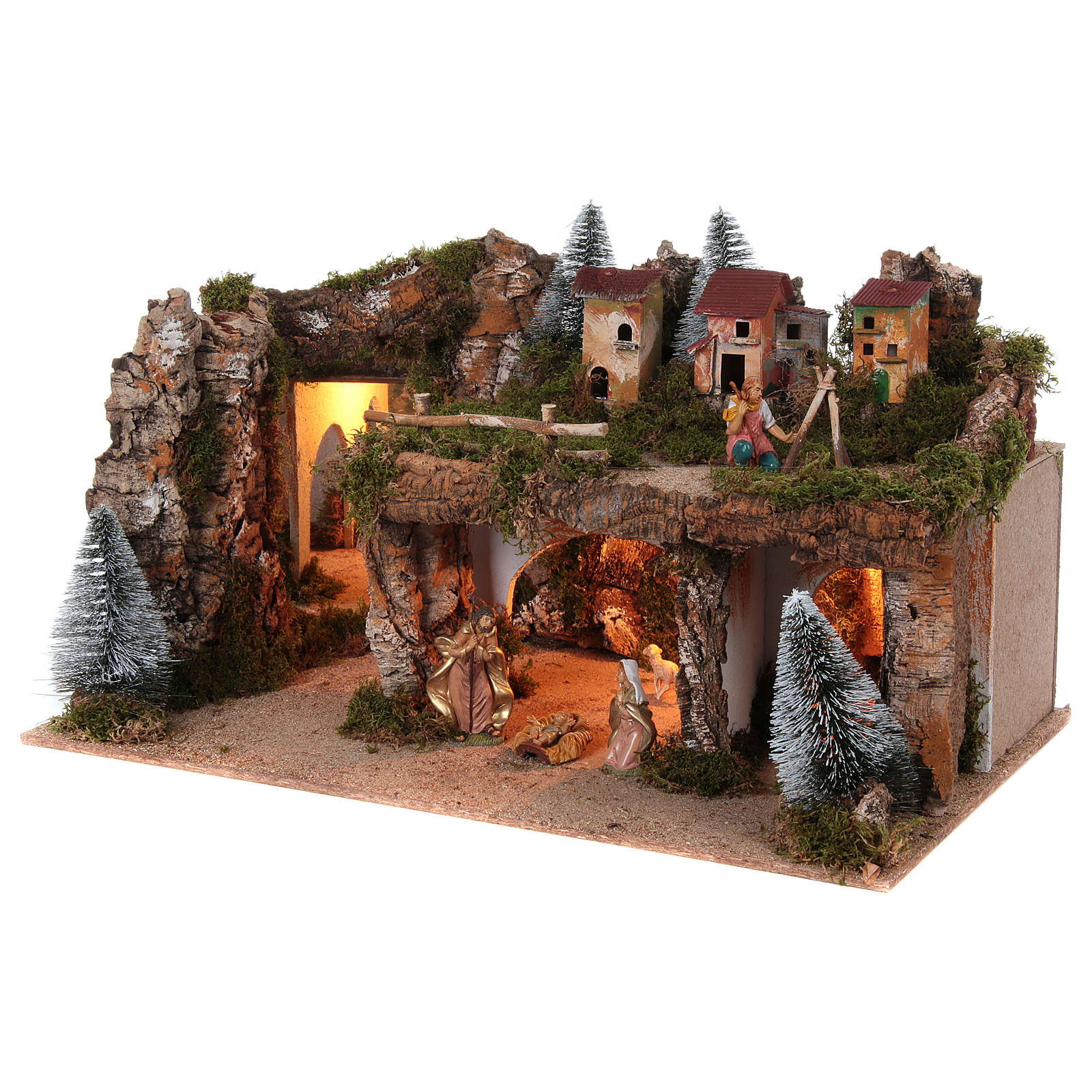 Landscape with lights and Nativity Scene 12 cm 8 pieces 45x80x50 cm 4