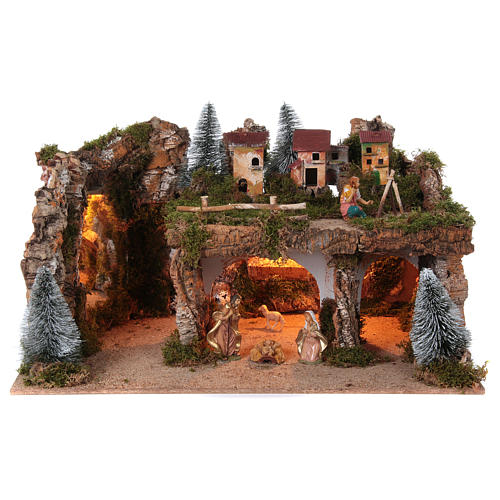 Landscape with lights and Nativity Scene 12 cm 8 pieces 45x80x50 cm 1