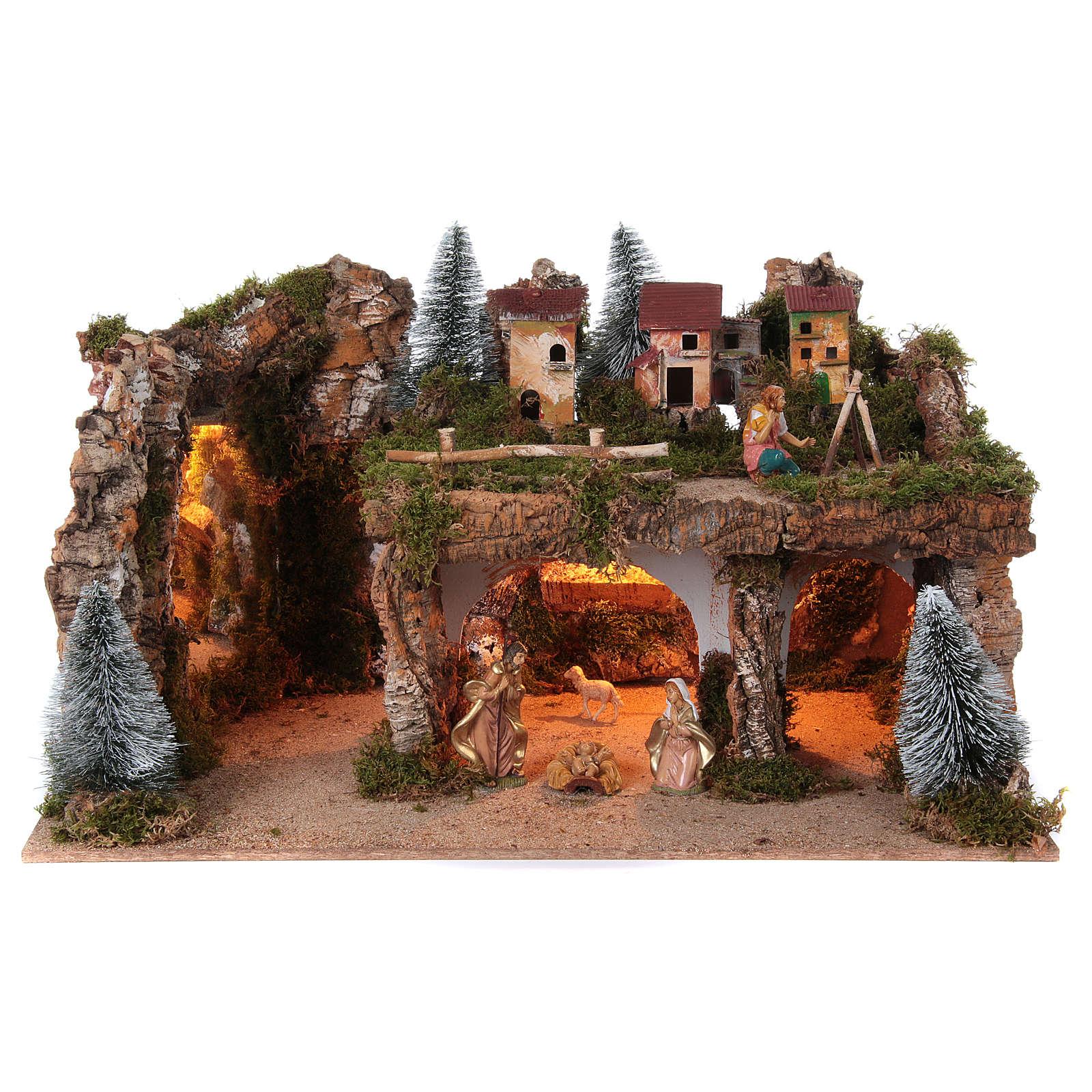 Paisaje con luces y belén 8 piezas 45x80x50 figuras 12 cm de altura media 4