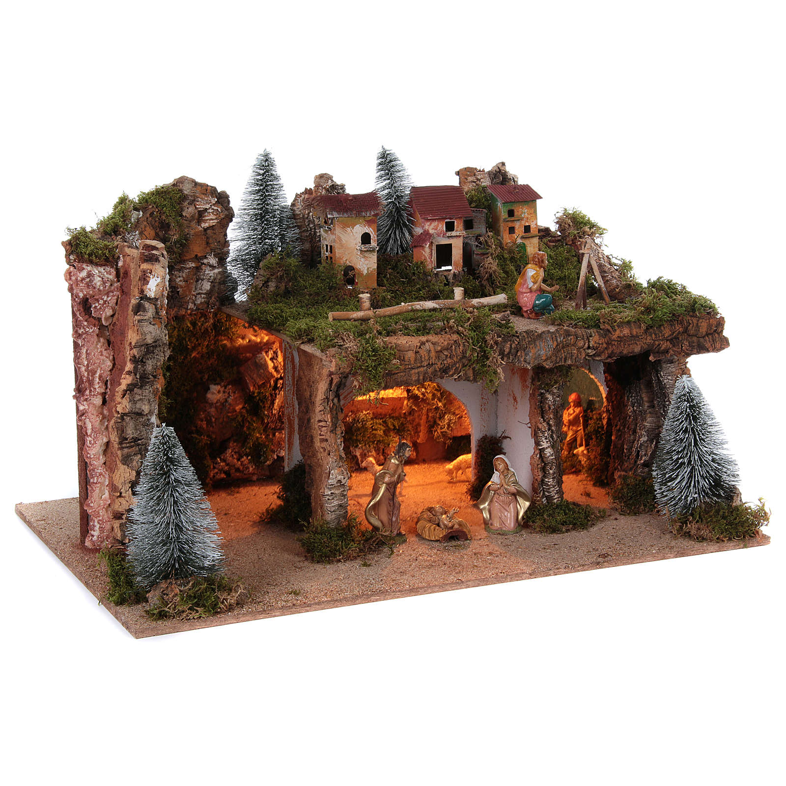 Nativity setting with lights and 8 figurines of 12 cm, 45x80x50 cm 4