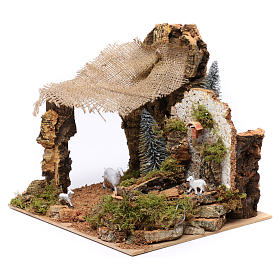 Electrical fountain with pump for Nativity Scene 25x20x20 cm s2