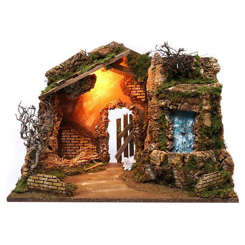 Cabane avec cascade électrique avec pompe et lumière pour crèche 45x60x35 cm 1