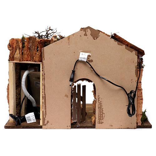 Cabane avec cascade électrique avec pompe et lumière pour crèche 45x60x35 cm 4