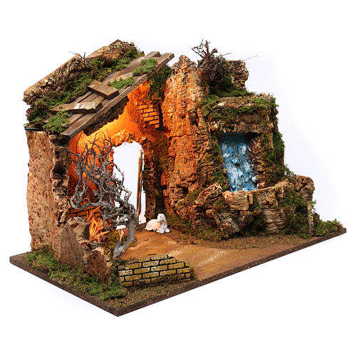 Open Barn with Waterfall Electric Pump and Lights for Nativity 45X60X35 cm 3