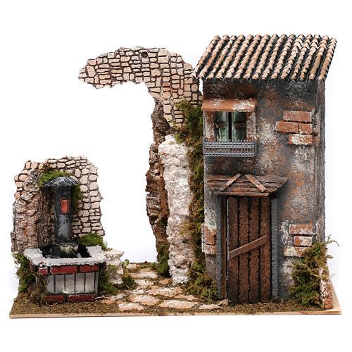 Maison rustique et fontaine avec pompe pour crèche 25x35x20 cm 1