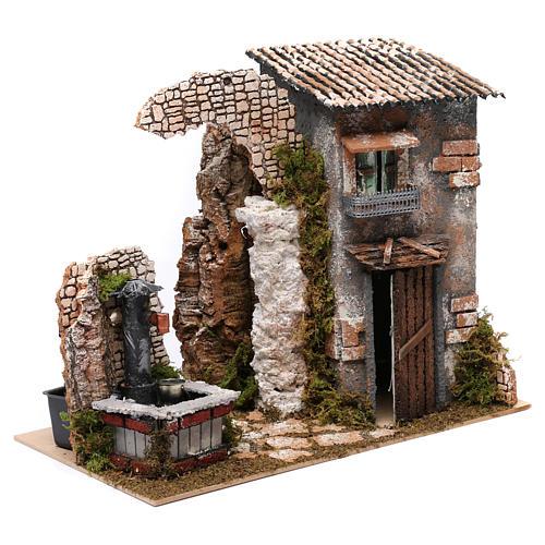 Maison rustique et fontaine avec pompe pour crèche 25x35x20 cm 3
