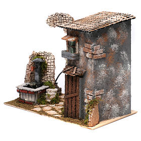 Cottage with water Fountain with pump for Nativity 25X35X20 cm s2