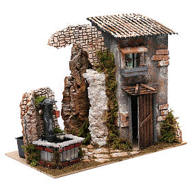 Cottage with water Fountain with pump for Nativity 25X35X20 cm s3