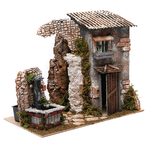 Cottage with water Fountain with pump for Nativity 25X35X20 cm 3