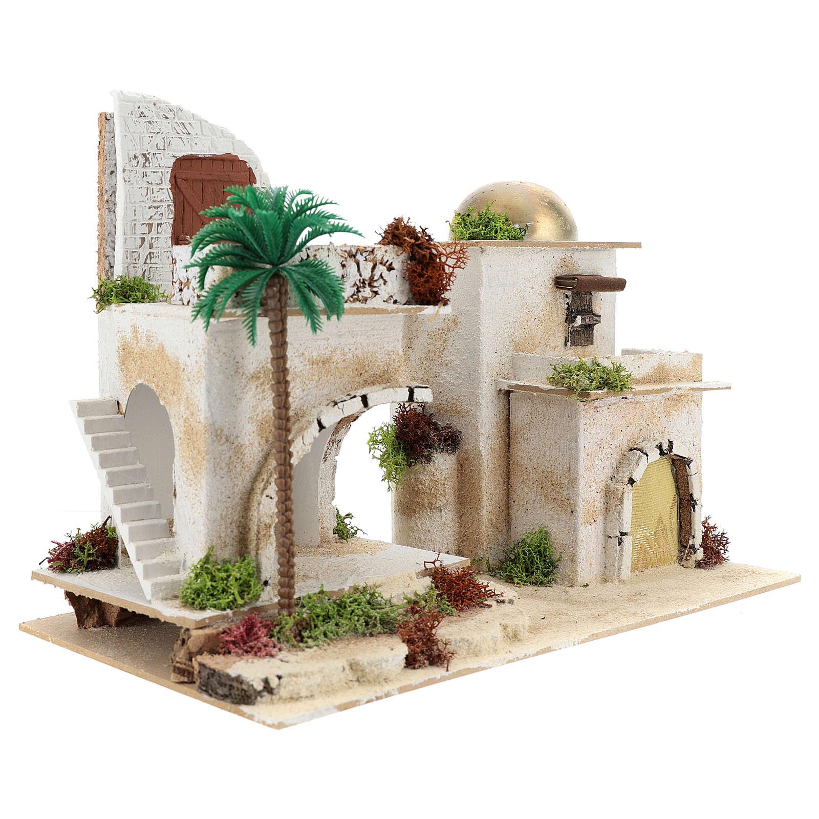 Arab House with Balcony for Nativity 25X35X20 cm 4