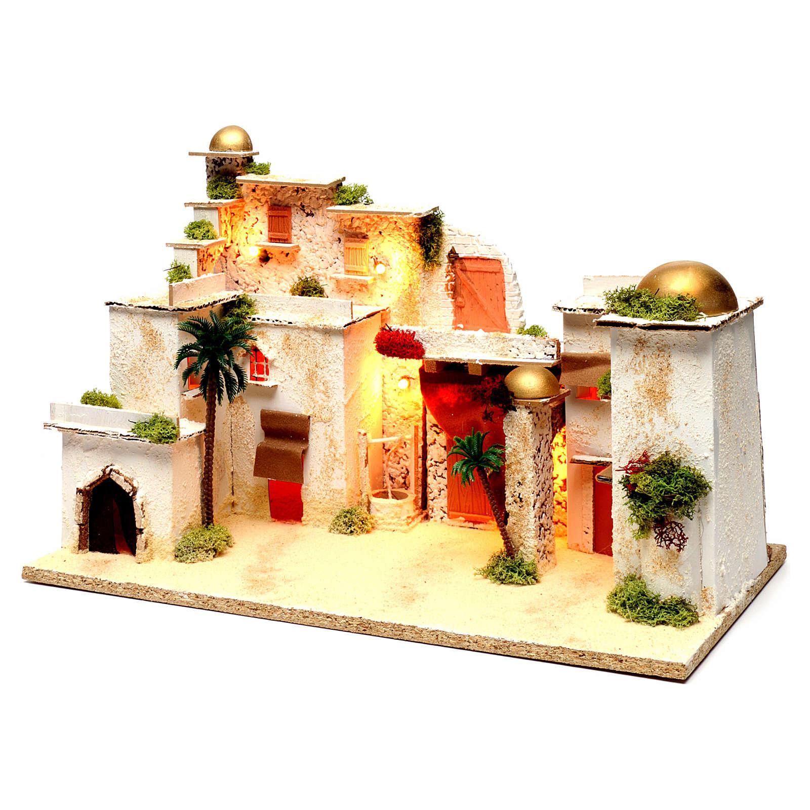 Paysage arabe avec lumières pour crèche 35x50x30 cm 4