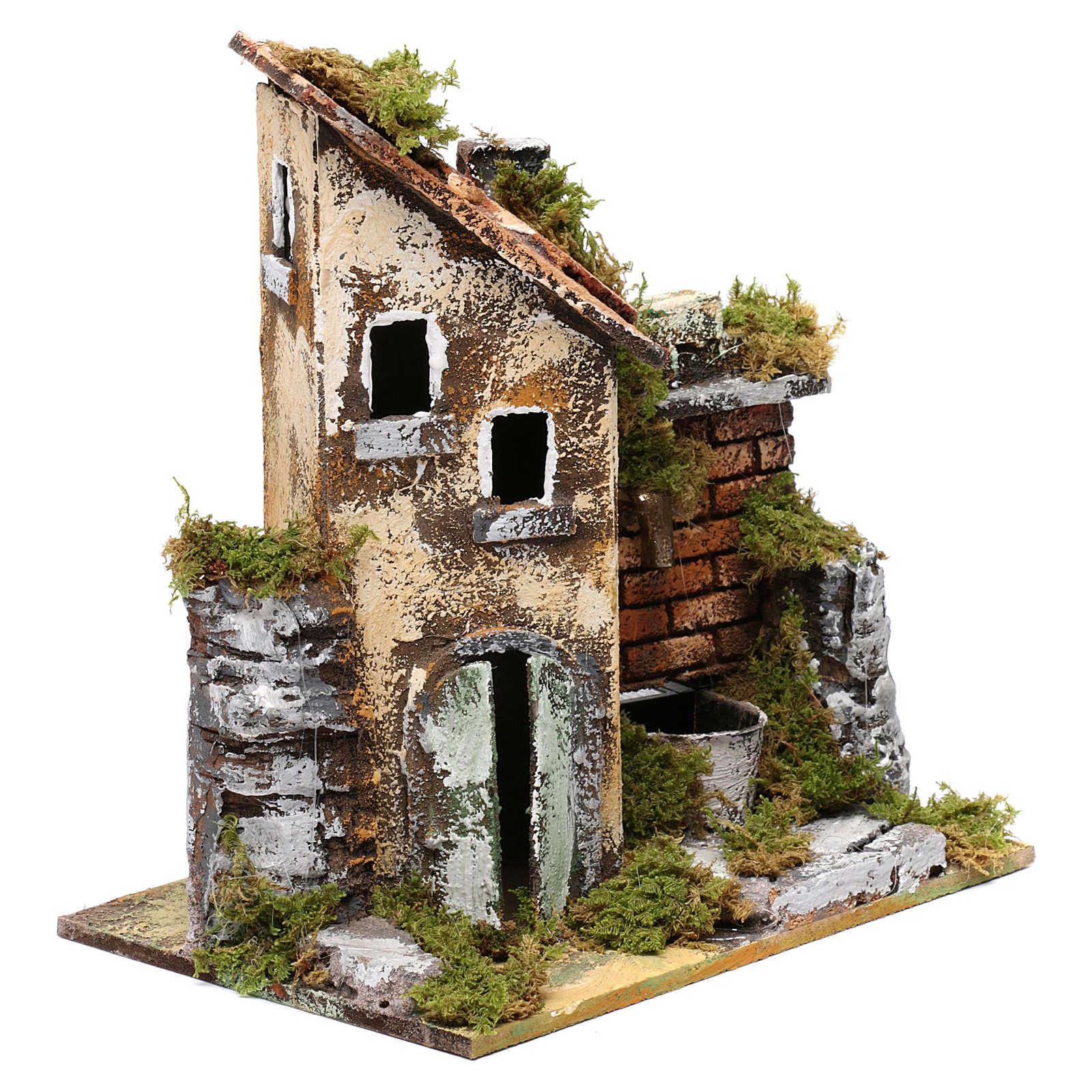 Fuente con bomba y casa para belén 25x20x15 cm 4