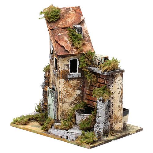 Fuente con bomba y casa para belén 25x20x15 cm 2