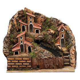 Stream with Pump and Houses for Nativity 20X20X15 cm s1