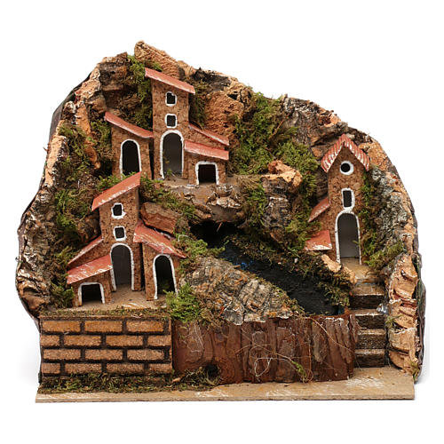 Stream with Pump and Houses for Nativity 20X20X15 cm 1