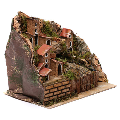 Stream with Pump and Houses for Nativity 20X20X15 cm 2