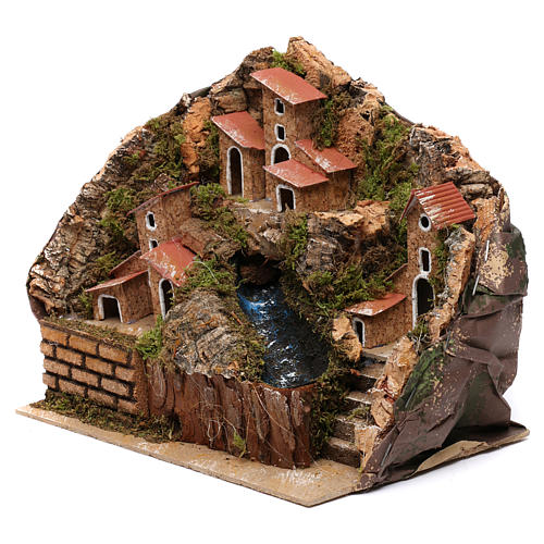 Stream with Pump and Houses for Nativity 20X20X15 cm 3