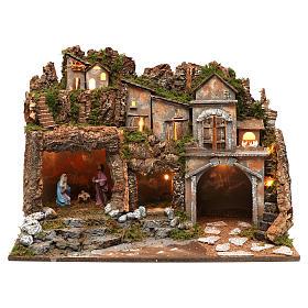 Casas, ambientaciones y tiendas: Ambientación para belén 10 cm de altura media con natividad y luces, tamaño 45x60x35 cm