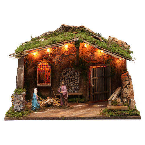 Stable for Nativity Scene 10 cm with Holy Family and lights 40X50X30 cm 1