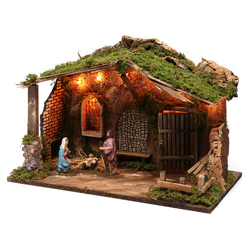 Stable for Nativity Scene 10 cm with Holy Family and lights 40X50X30 cm 2