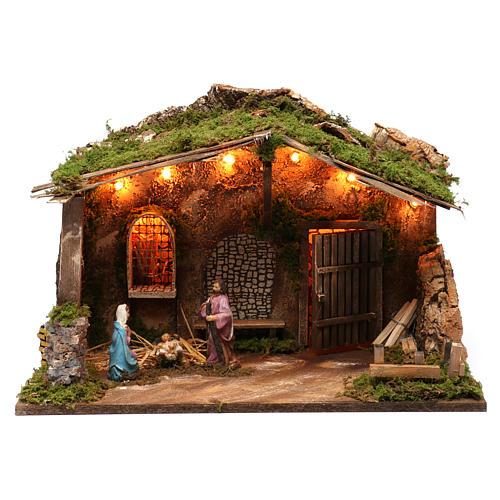 Cabaña para belén 10 cm con natividad y luces, tamaño 40x50x30 cm 1