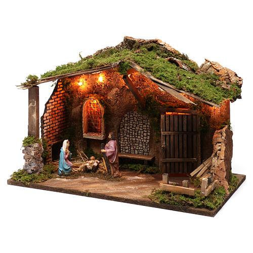 Cabaña para belén 10 cm con natividad y luces, tamaño 40x50x30 cm 2
