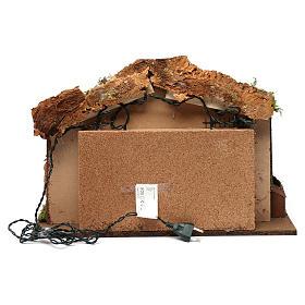 Cabane pour crèche 10 cm avec nativité et éclairage 40x50x30 cm s4