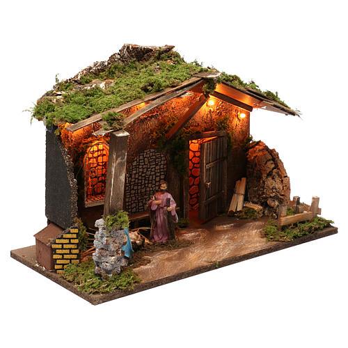 Cabane pour crèche 10 cm avec nativité et éclairage 40x50x30 cm 3