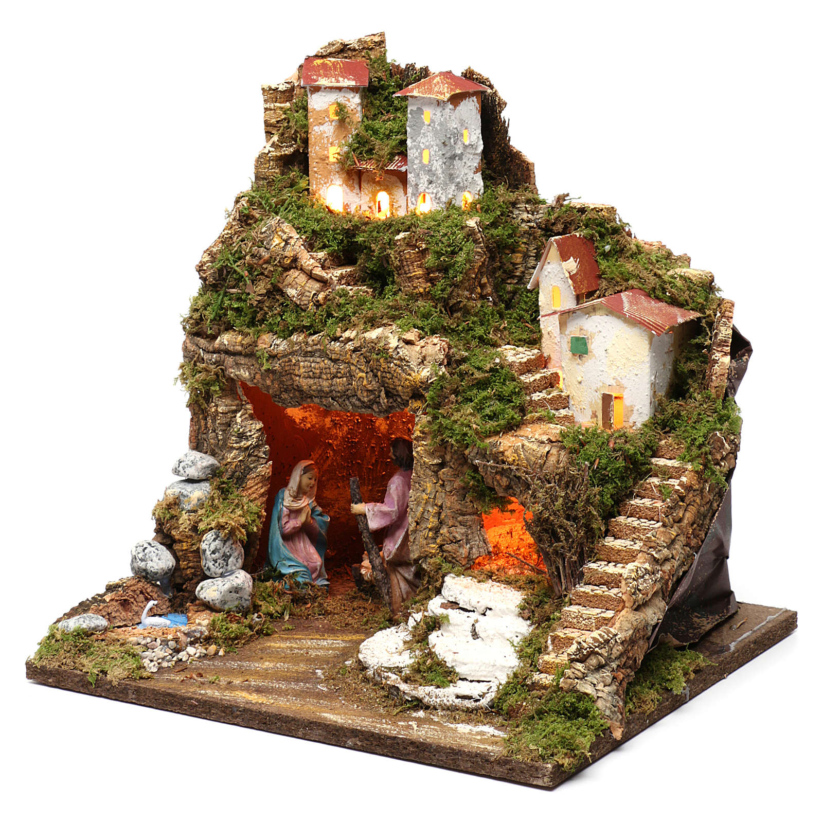 Stable for Nativity Scene 10 cm with Holy Family and lights 40X30X30 cm 4